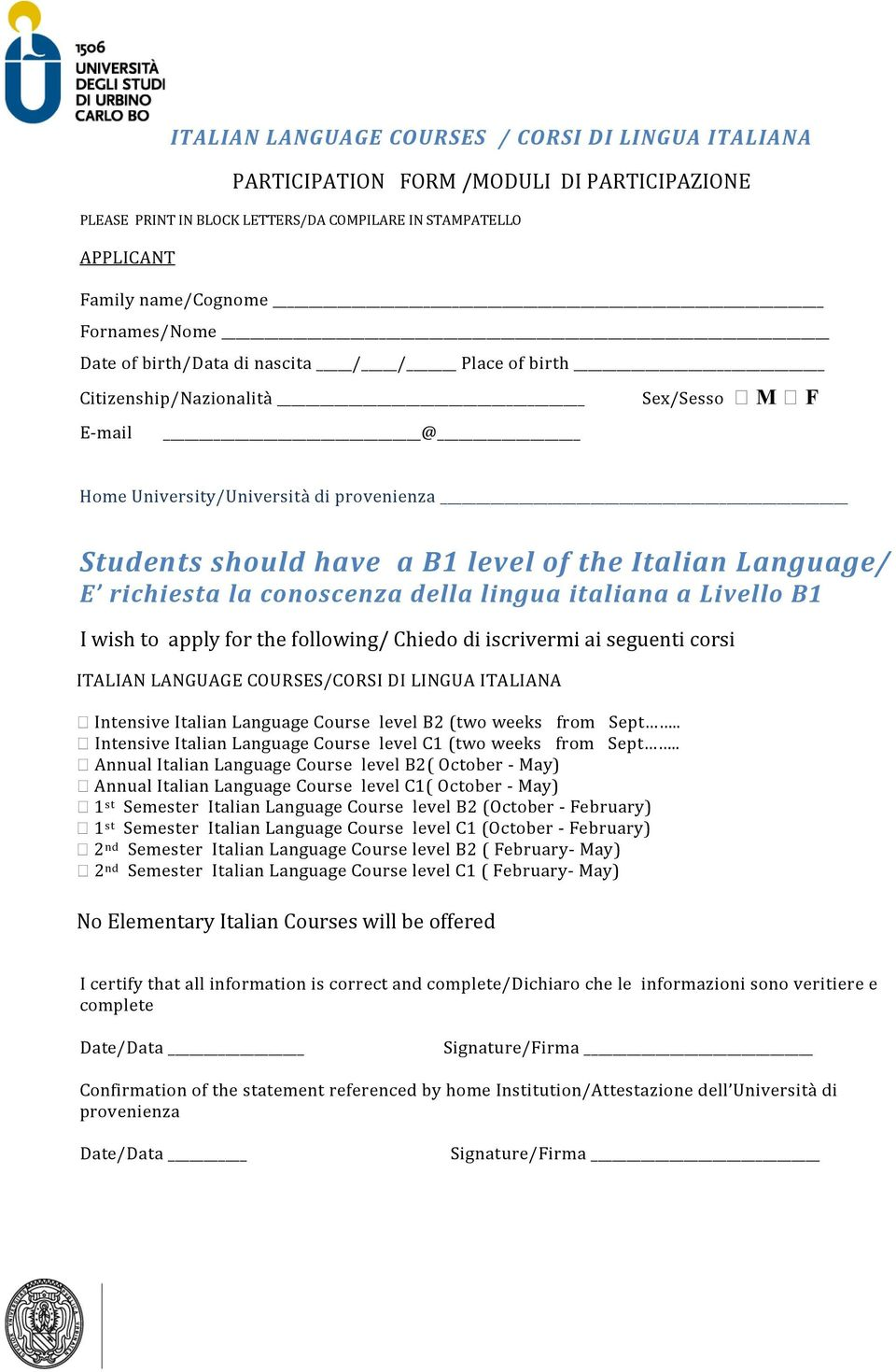 Intensive Italian Language Course level B2 (two weeks from Sept.. Intensive Italian Language Course level C1 (two weeks from Sept.