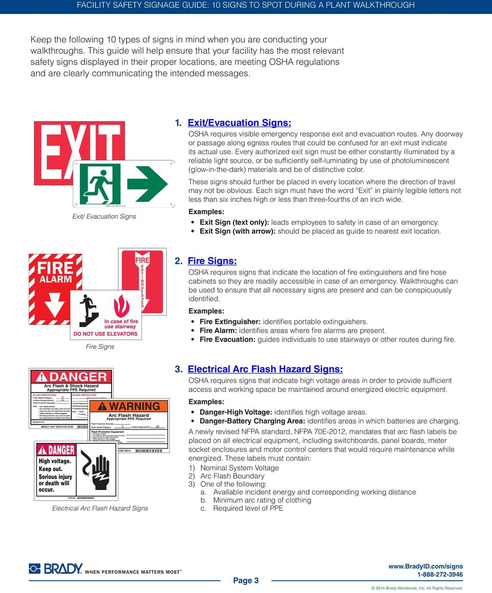 1. Exit/Evacuation Signs: OSHA requires visible emergency response exit and evacuation routes.