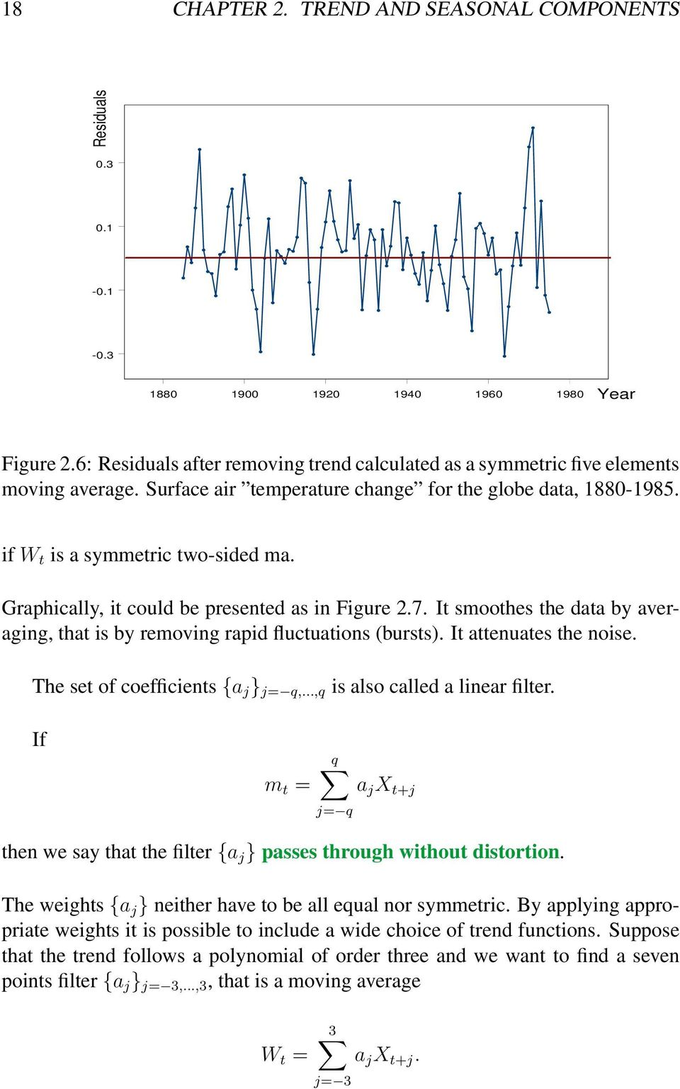 Graphically, it could be presented as in Figure 2.7. It smoothes the data by averaging, that is by removing rapid fluctuations (bursts). It attenuates the noise. The set of coefficients {a j },.