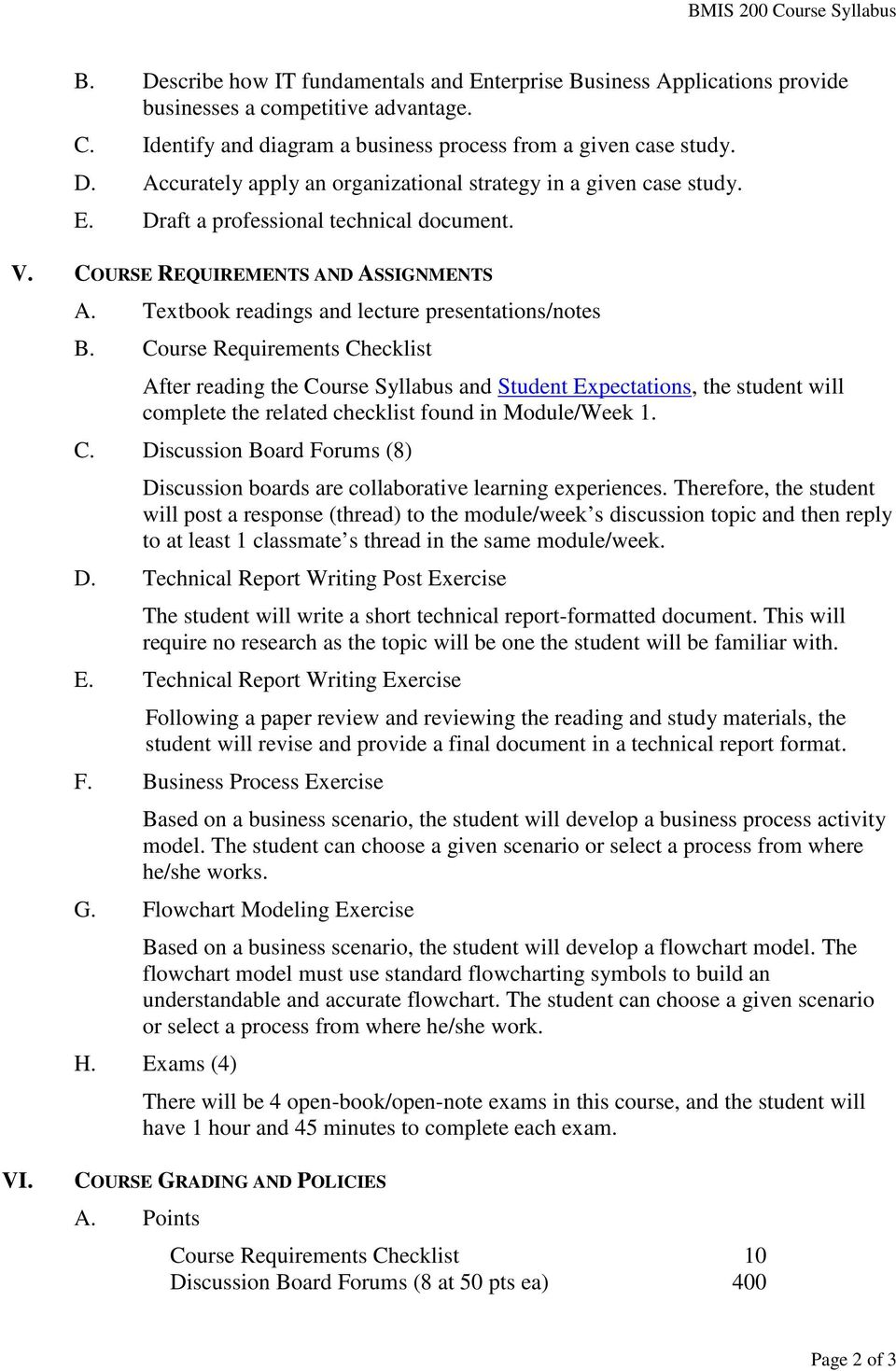 Course Requirements Checklist After reading the Course Syllabus and Student Expectations, the student will complete the related checklist found in Module/Week 1. C. Discussion Board Forums (8) Discussion boards are collaborative learning experiences.