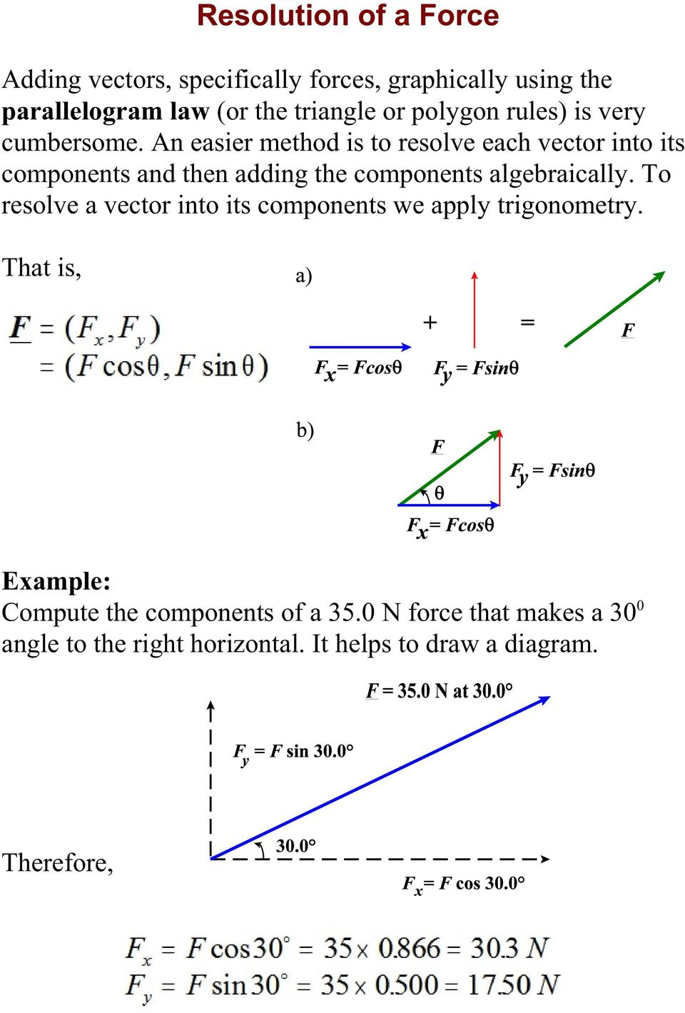 An easier method is to resolve each vector into its components and then adding the components algebraically.