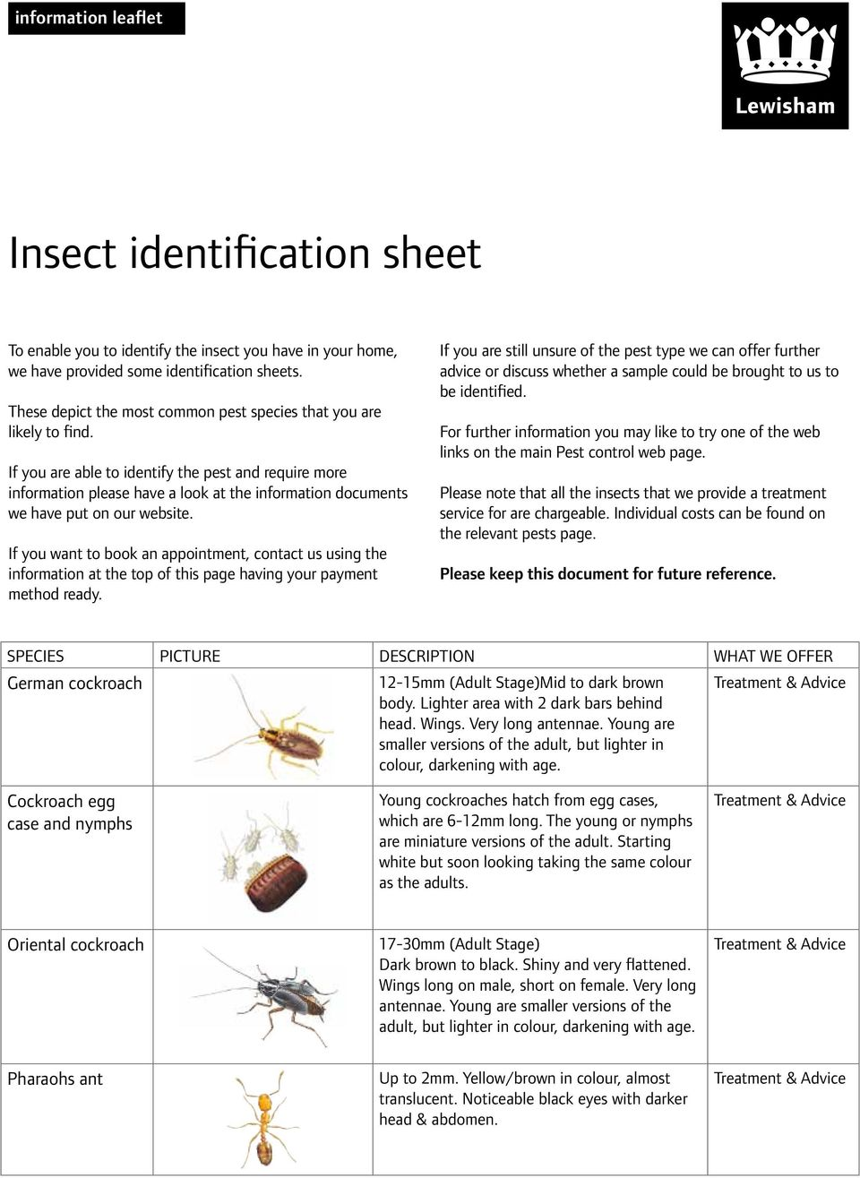 If you are able to identify the pest and require more information please have a look at the information documents we have put on our website.