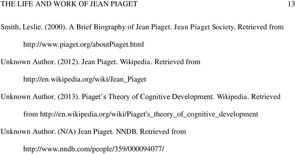 wikipedia.org/wiki/jean_piaget Unknown Author. (2013). Piaget s Theory of Cognitive Development. Wikipedia. Retrieved from http://en.