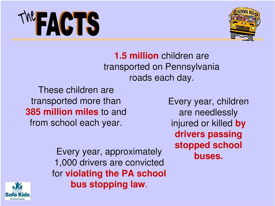 Every year, approximately 1,000 drivers are convicted for violating the PA school bus