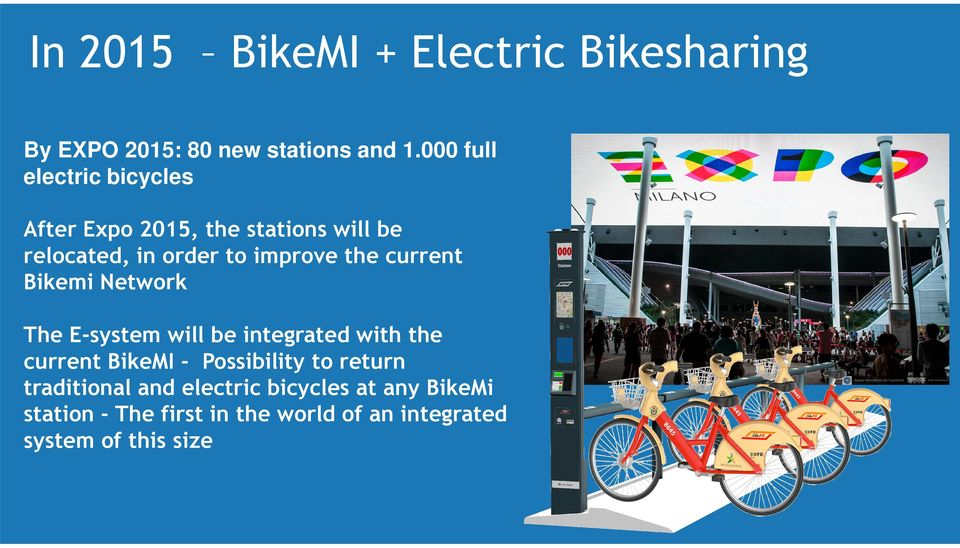 the current Bikemi Network The E-system will be integrated with the current BikeMI - Possibility