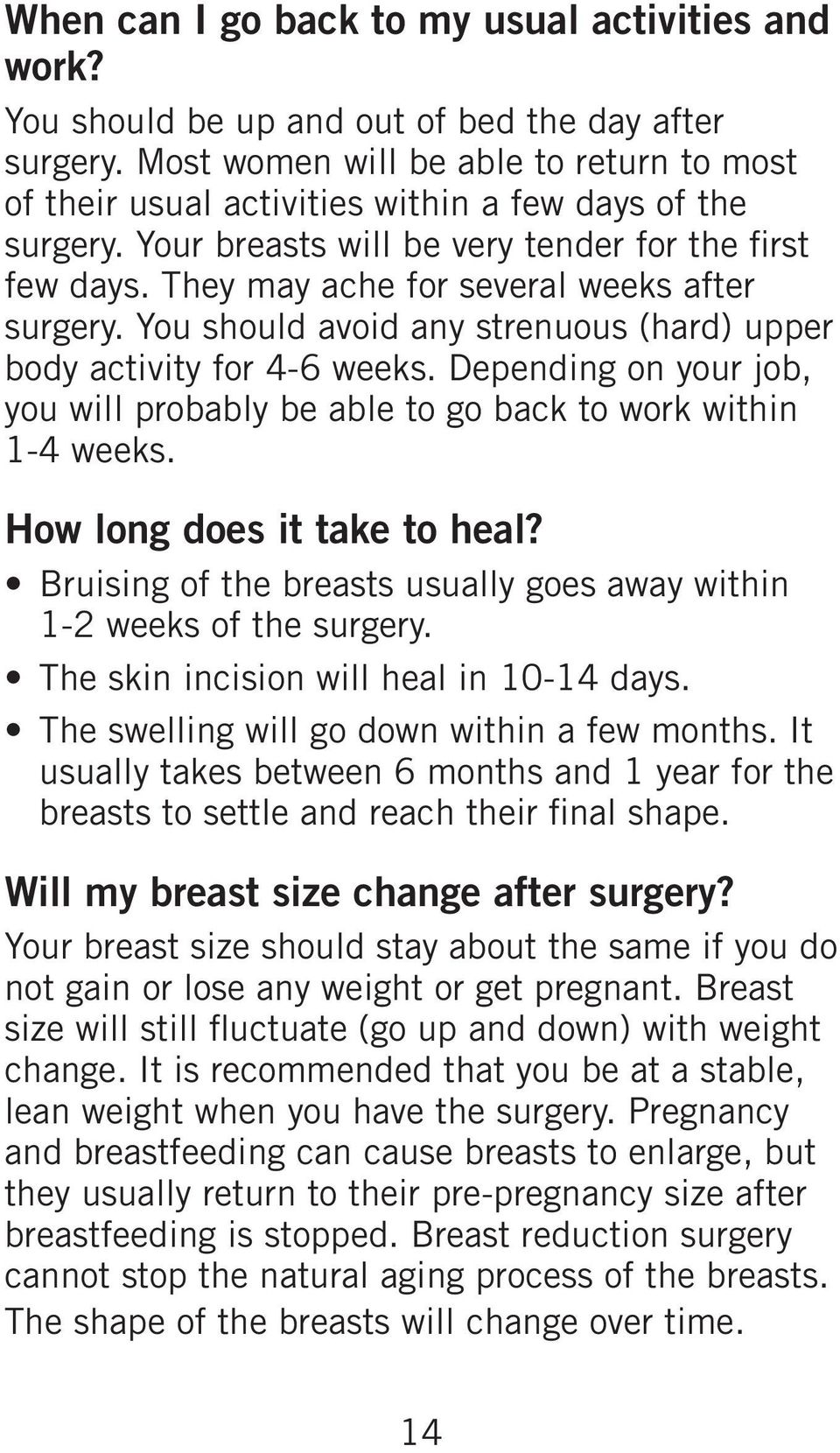 They may ache for several weeks after surgery. You should avoid any strenuous (hard) upper body activity for 4-6 weeks.