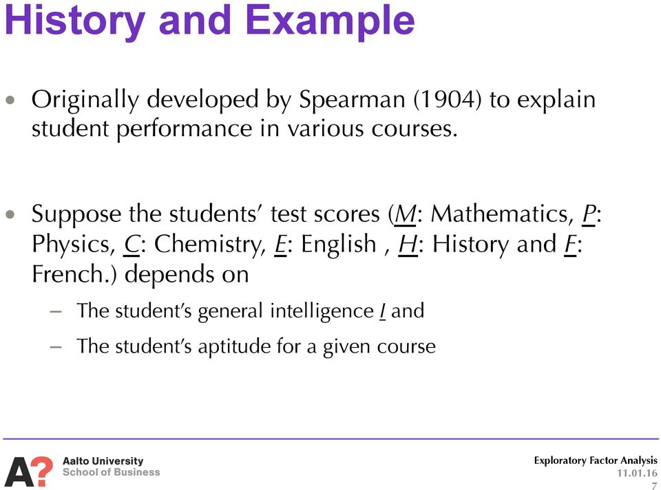 Suppose the students test scores (M: Mathematics, P: Physics, C: Chemistry, E:
