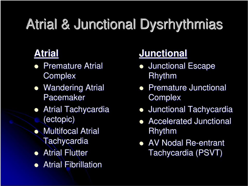 Atrial Fibrillation Junctional Junctional Escape Rhythm Premature Junctional Complex