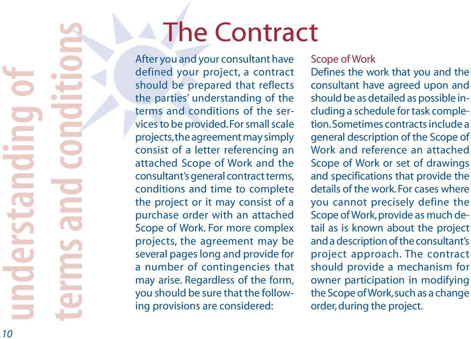 For small scale projects, the agreement may simply consist of a letter referencing an attached Scope of Work and the consultant s general contract terms, conditions and time to complete the project