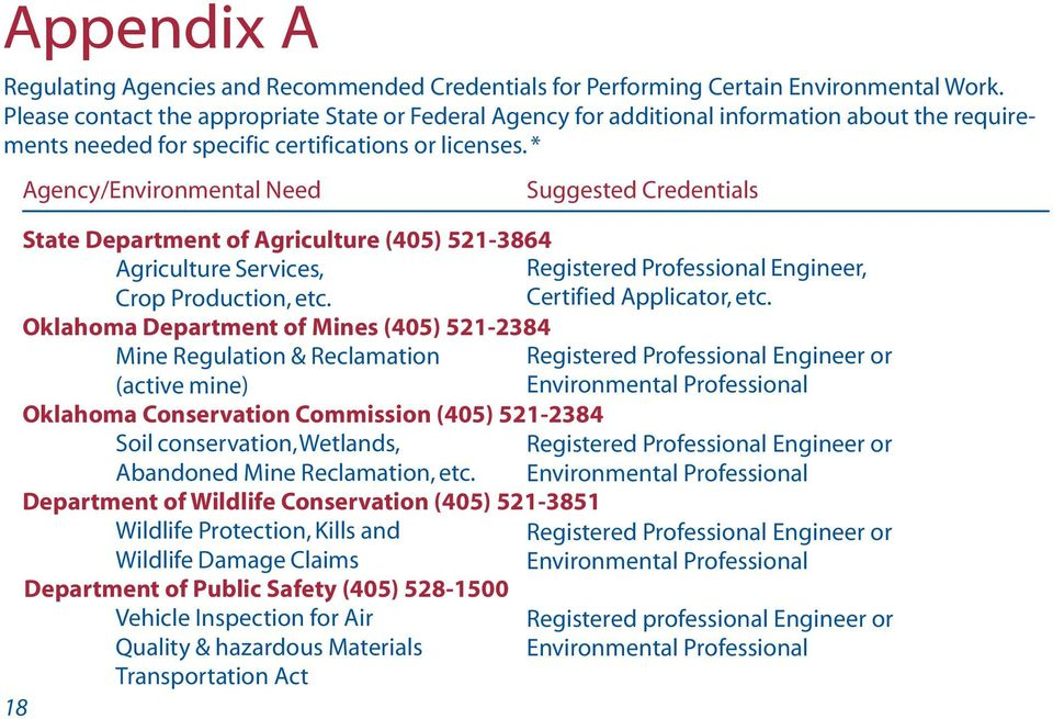 * Agency/Environmental Need Suggested Credentials State Department of Agriculture (405) 521-3864 Agriculture Services, Registered Professional Engineer, Crop Production, etc.