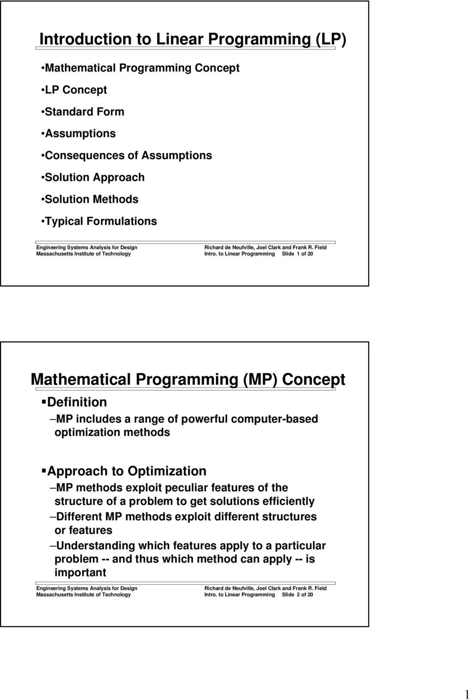 to Linear Programming Slide 1 of 20 Mathematical Programming (MP) Concept Definition MP includes a range of powerful computer-based optimization methods Approach to Optimization MP methods