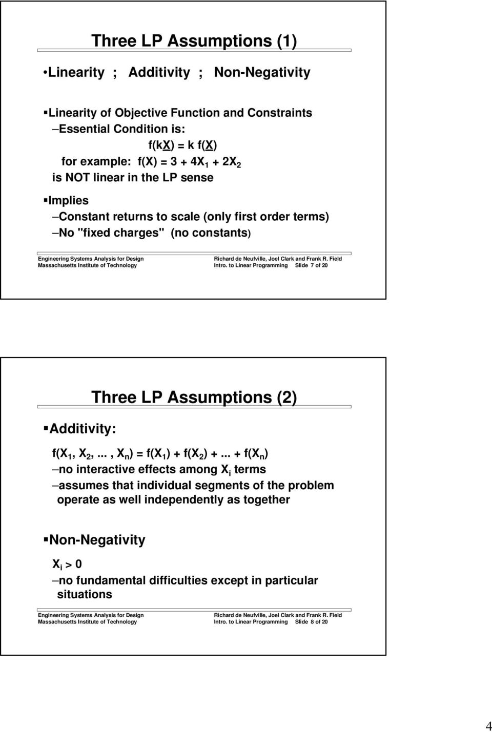 to Linear Programming Slide 7 of 20 Additivity: Three LP Assumptions (2) f(x 1, X 2,..., X n ) = f(x 1 ) + f(x 2 ) +.