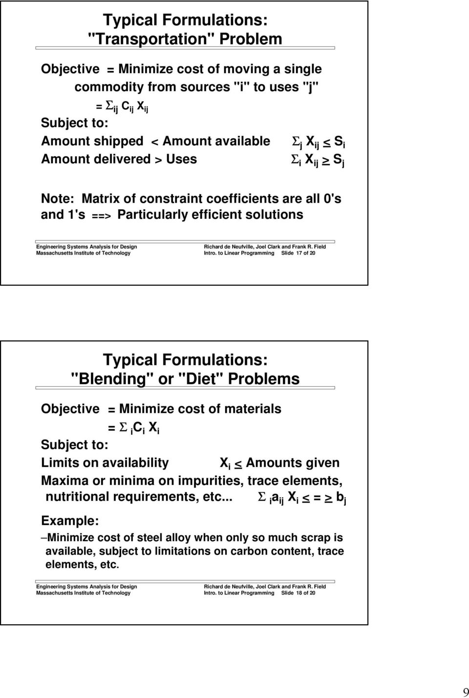 "to Linear Programming Slide 17 of 20 Typical Formulations: ""Blending"" or ""Diet"" Problems Objective = Minimize cost of materials = Σ i C i X i Subject to: Limits on availability X i < Amounts given"