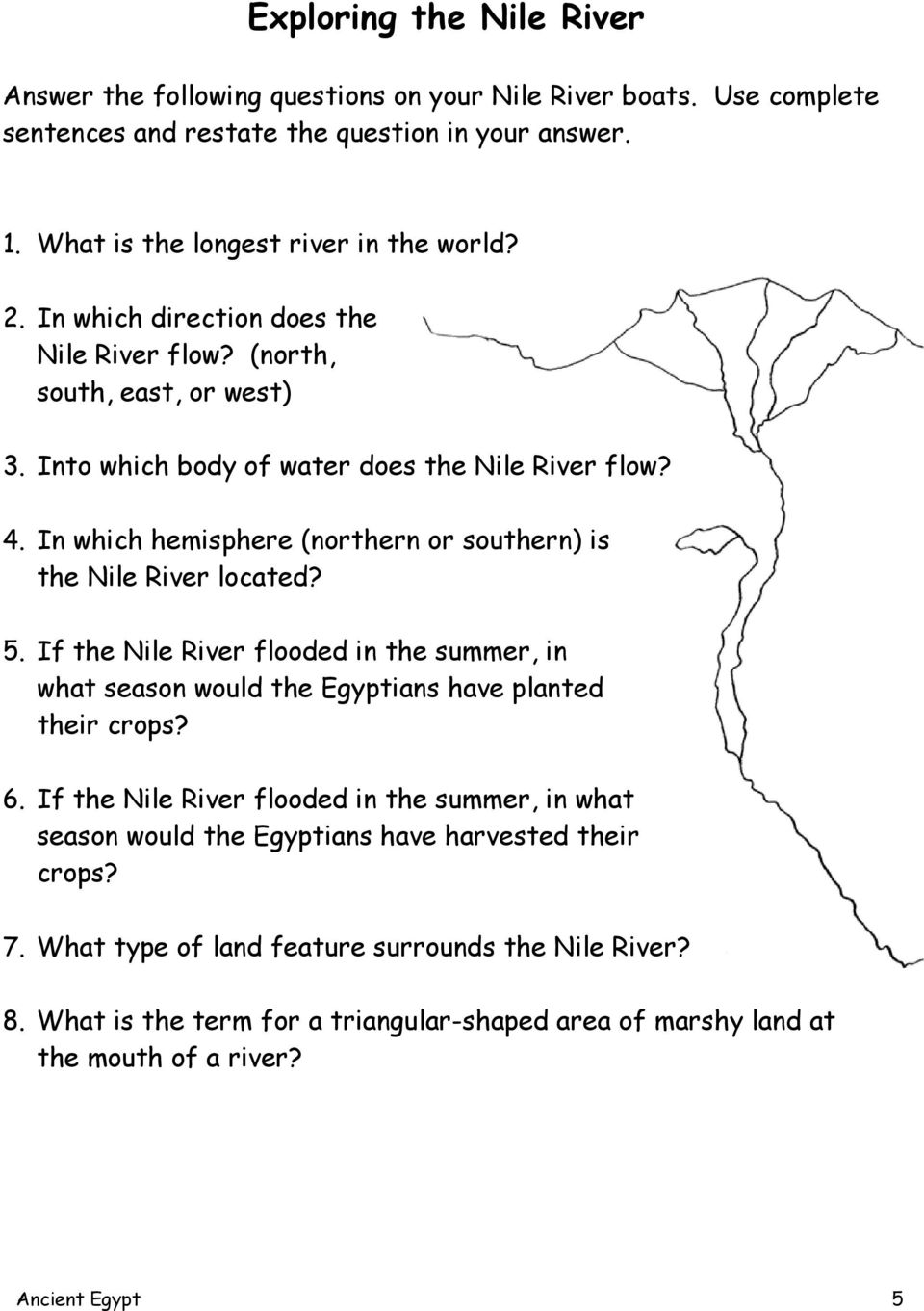 In which hemisphere (northern or southern) is the Nile River located? 5. If the Nile River flooded in the summer, in what season would the Egyptians have planted their crops? 6.