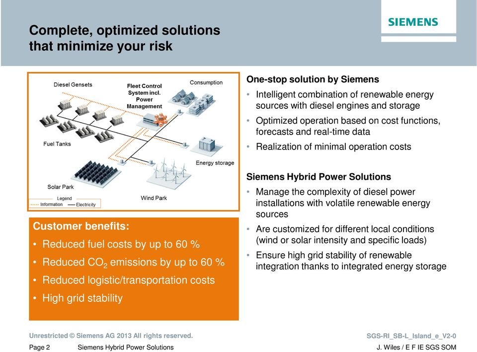 2 emissions by up to 60 % Reduced logistic/transportation costs High grid stability Manage the complexity of diesel power installations with volatile renewable energy sources
