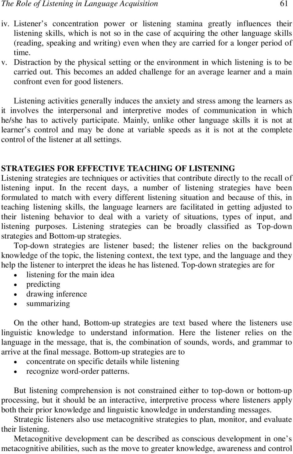 essay on concentration listening skills essay the role of listening in language acquisition the challenges