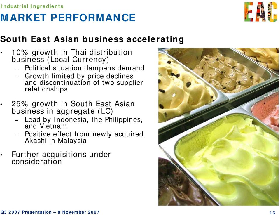 of two supplier relationships 25% growth in South East Asian business in aggregate (LC) Lead by Indonesia, the