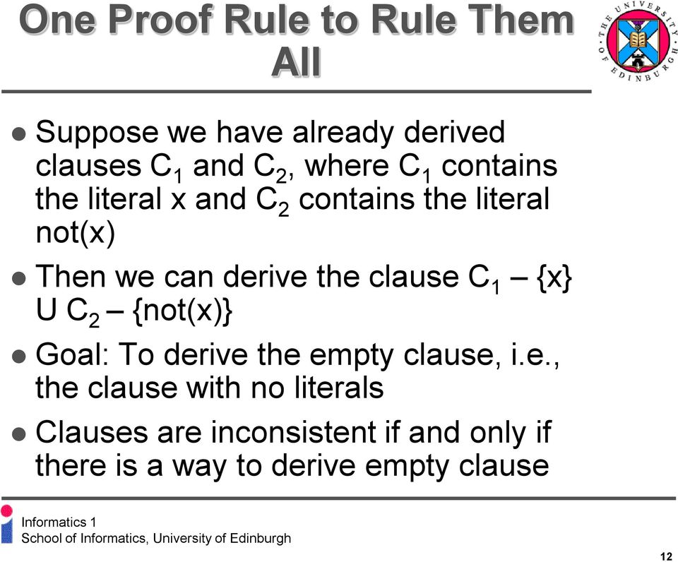 the clause C 1 {x} U C 2 {not(x)} Goal: To derive the empty clause, i.e., the clause