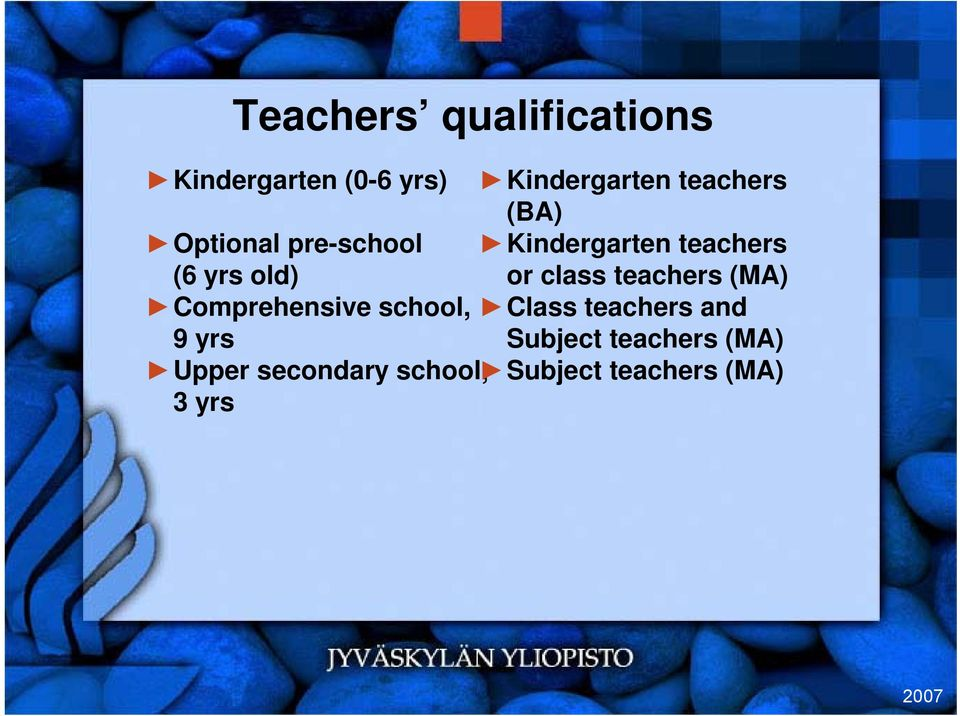 teachers (MA) Comprehensive school, Class teachers and 9 yrs Subject
