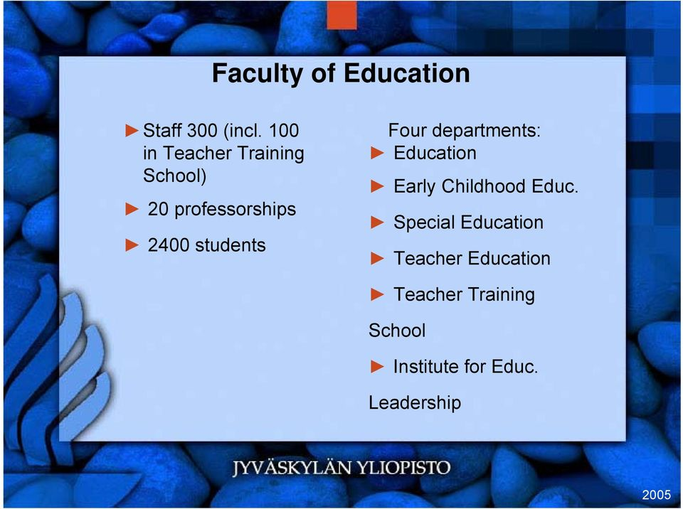 students Four departments: Education Early Childhood Educ.