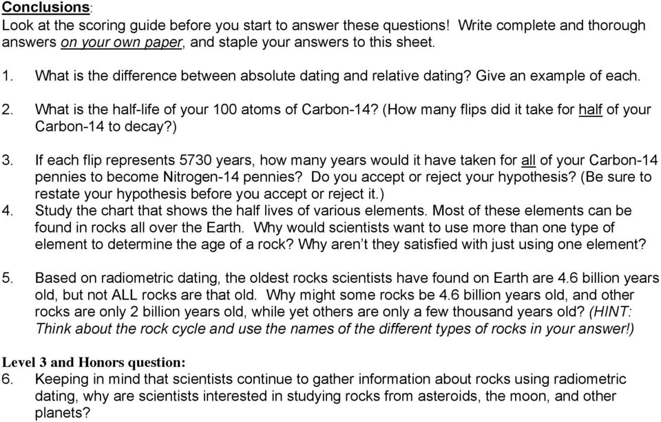 Radiometric dating lab answers