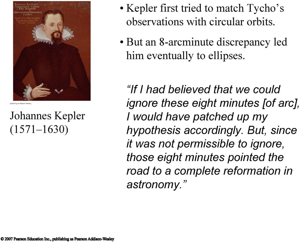 Johannes Kepler (1571 1630) If I had believed that we could ignore these eight minutes [of arc], I