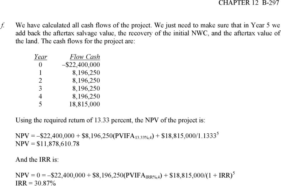 The cash flows for the project are: Year Flow Cash 0 $22,400,000 1 8,196,250 2 8,196,250 3 8,196,250 4 8,196,250 5 18,815,000 Using the required return