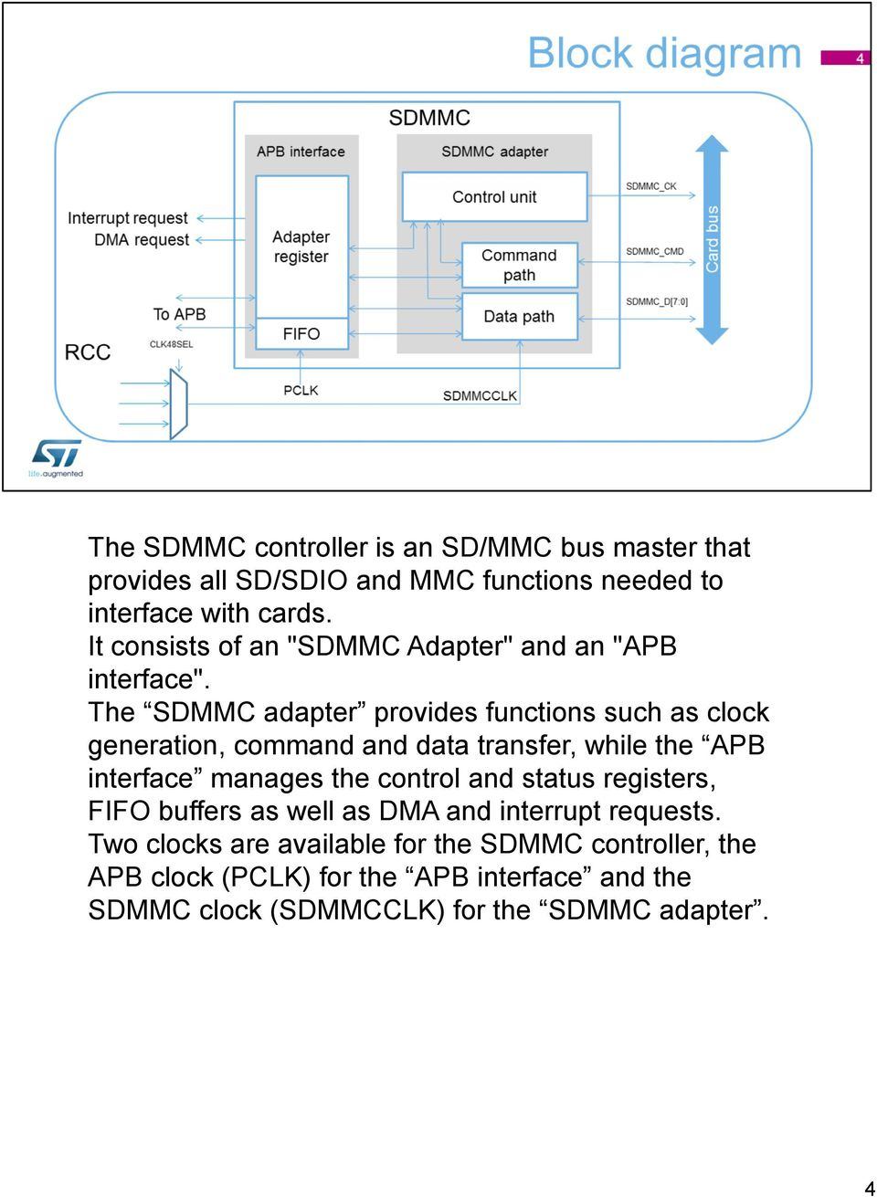 The SDMMC adapter provides functions such as clock generation, command and data transfer, while the APB interface manages the control