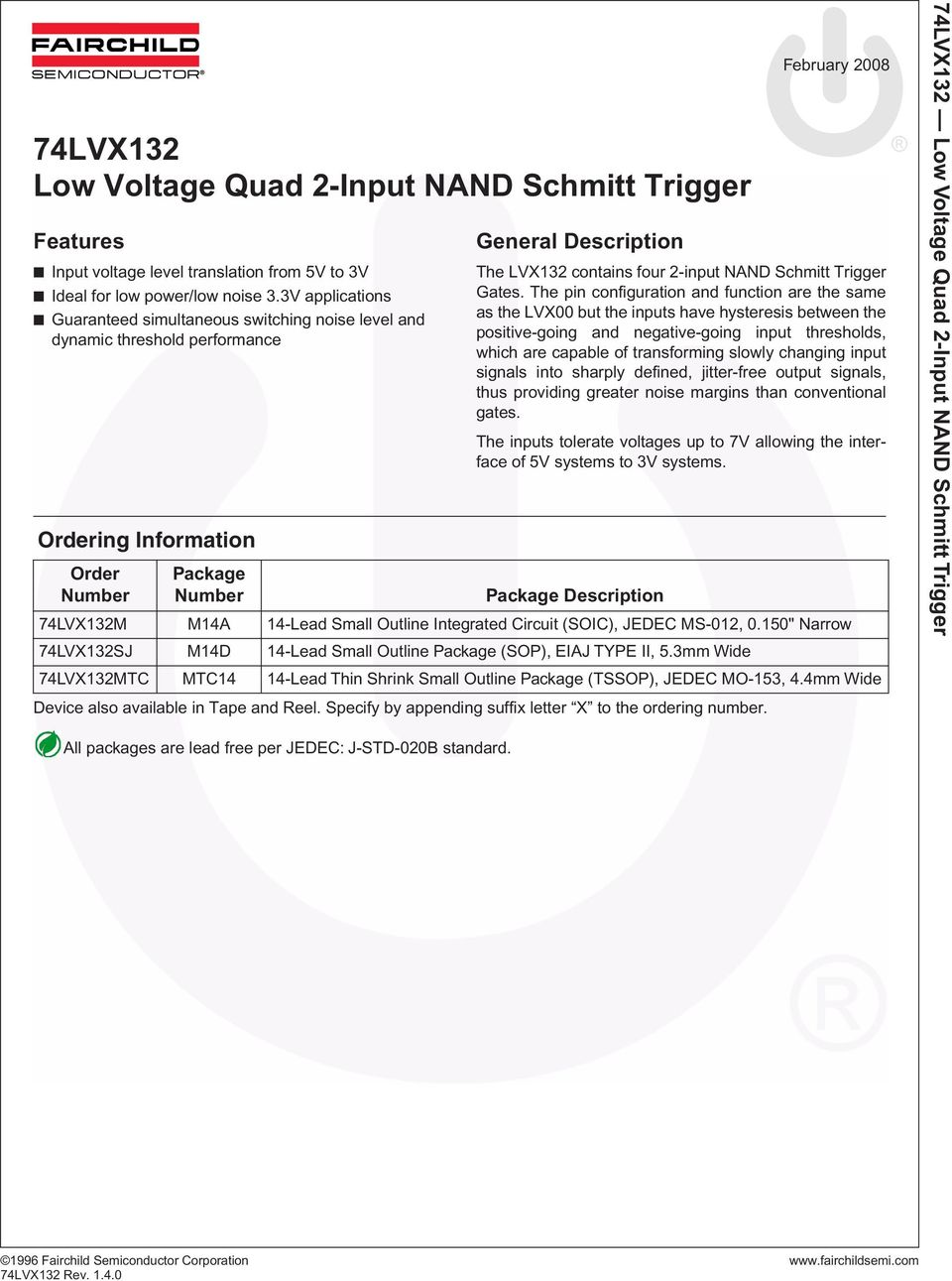 74lvx132 Low Voltage Quad 2 Input Nand Schmitt Trigger Pdf Small Outline Integrated Circuit Soic And Sop Four Gates