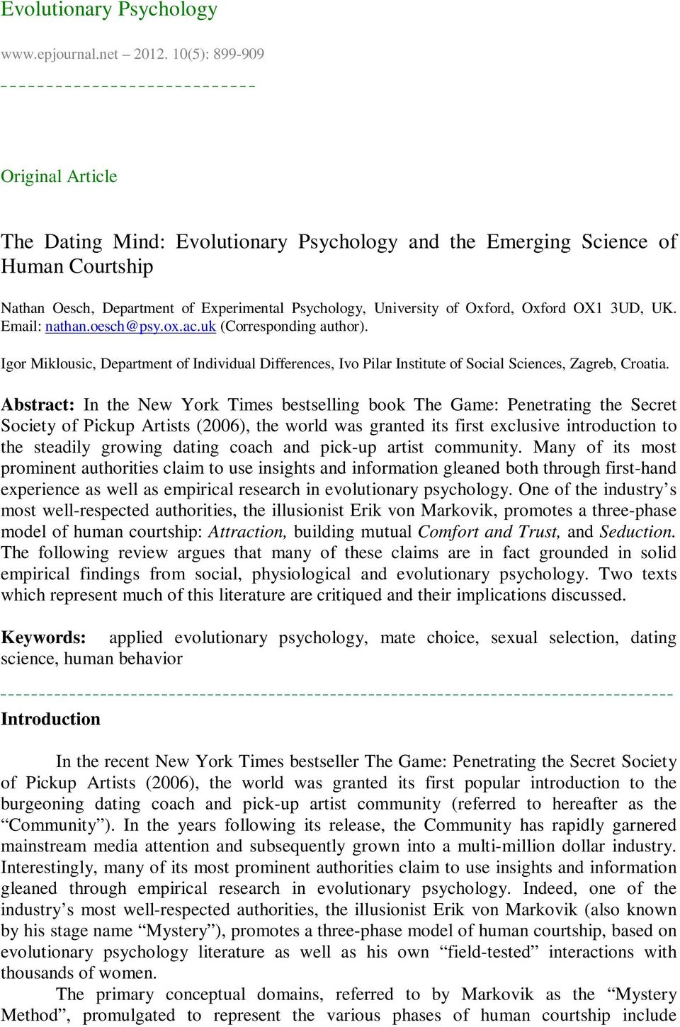 the dating mind evolutionary psychology and the emerging science of human courtship