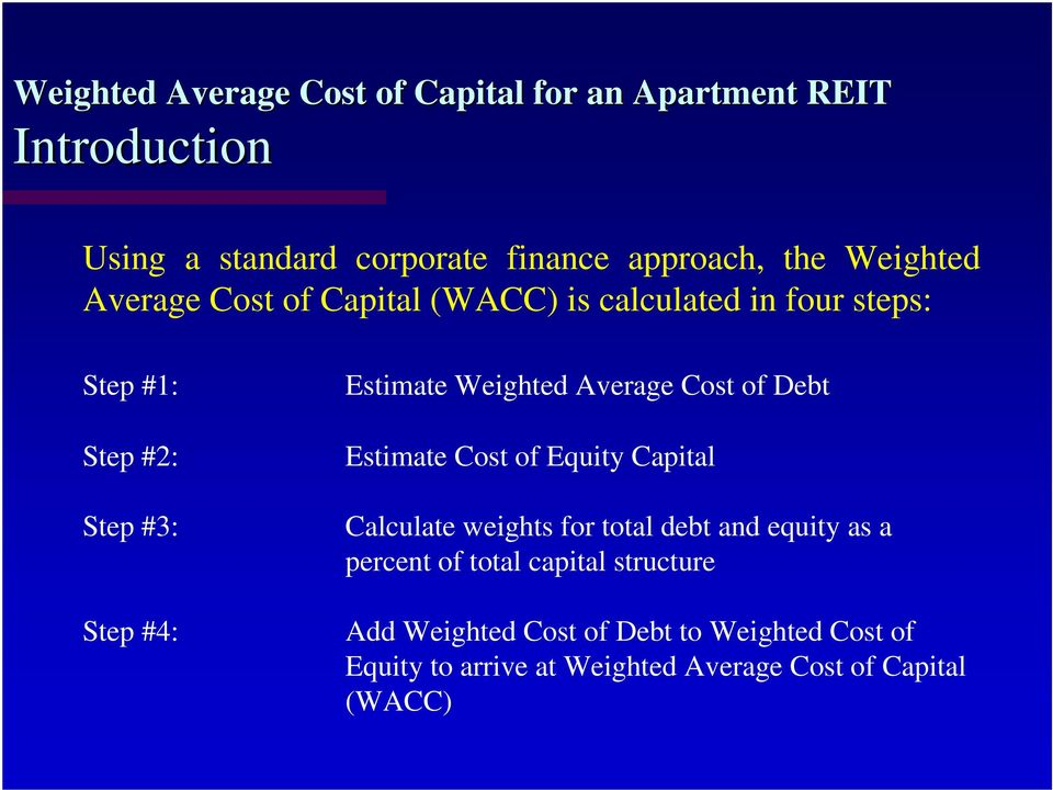 Estimate Cost of Equity Capital Calculate weights for total debt and equity as a percent of total capital
