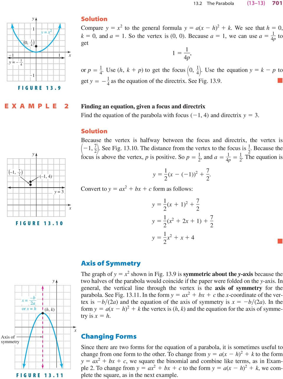 4 E X A M P L E 2 Finding an equation, given a focus and directri Find the equation of the parabola with focus (, 4) and directri 3.