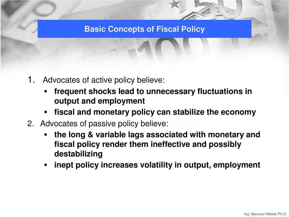 employment fiscal and monetary policy can stabilize the economy 2.