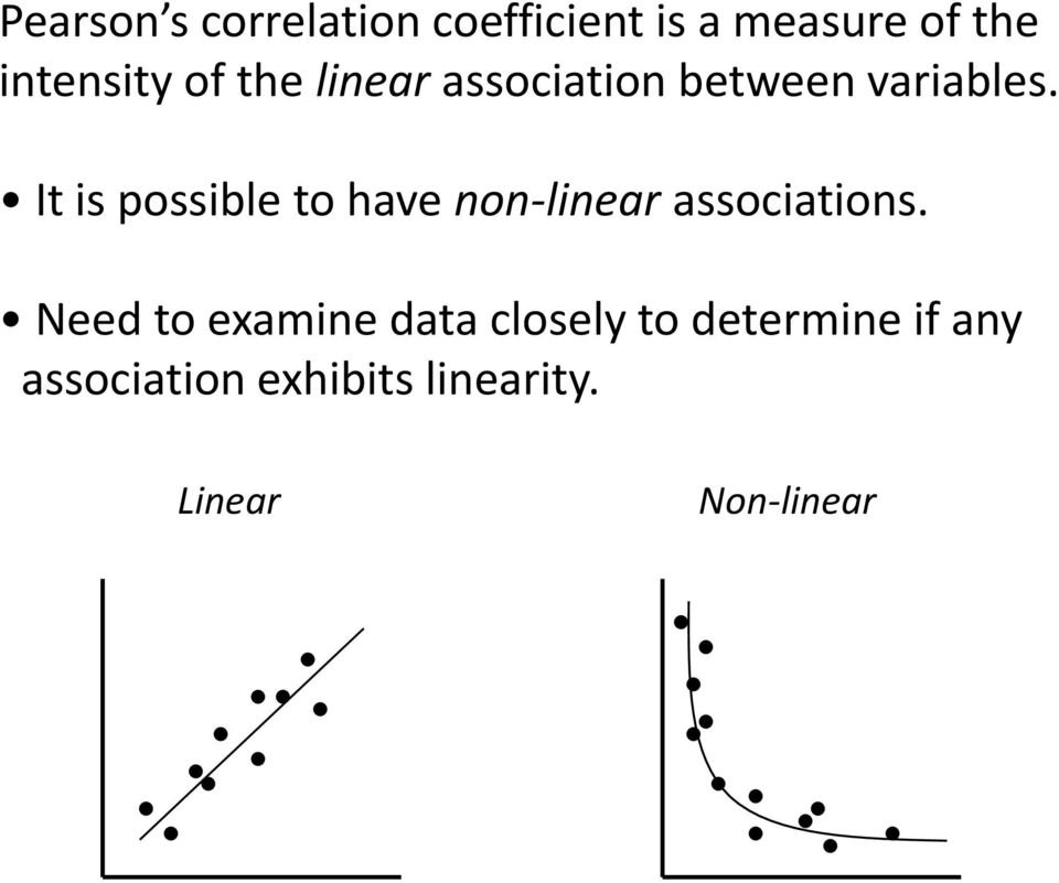 It is possible to have non-linear associations.