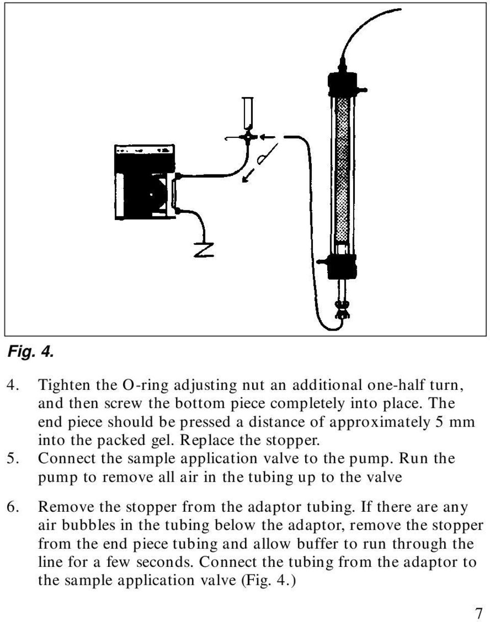 Run the pump to remove all air in the tubing up to the valve 6. Remove the stopper from the adaptor tubing.