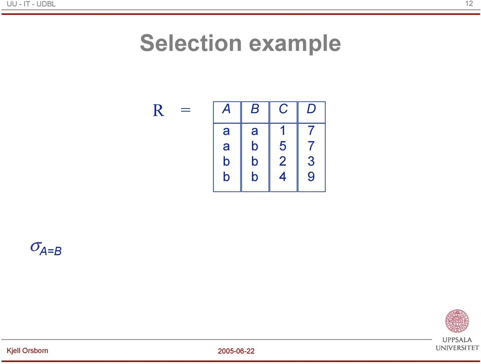 Selection exmple = A