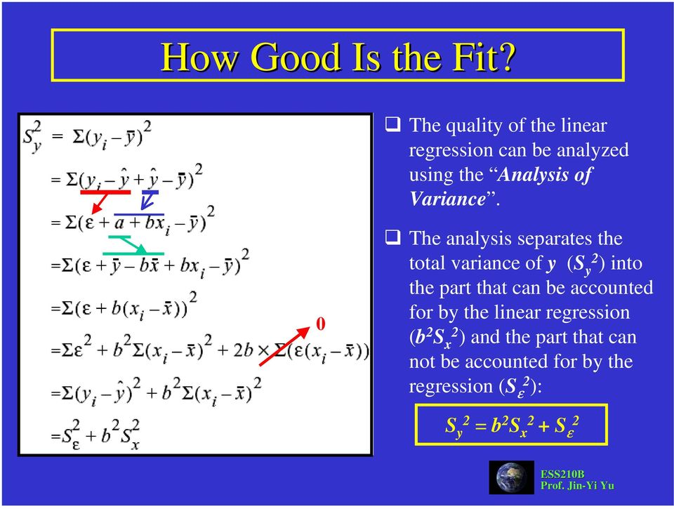 0 The analysis separates the total variance of y (S y 2 ) into the part that can be