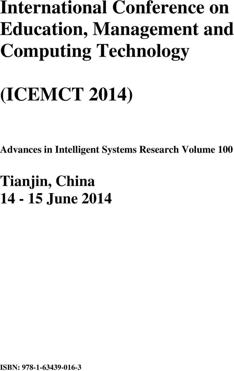 2014) Advances in Intelligent Systems Research