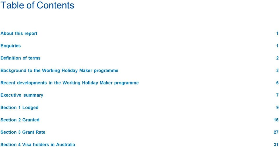 the Working Holiday Maker programme 6 Executive summary 7 Section 1 Lodged 9