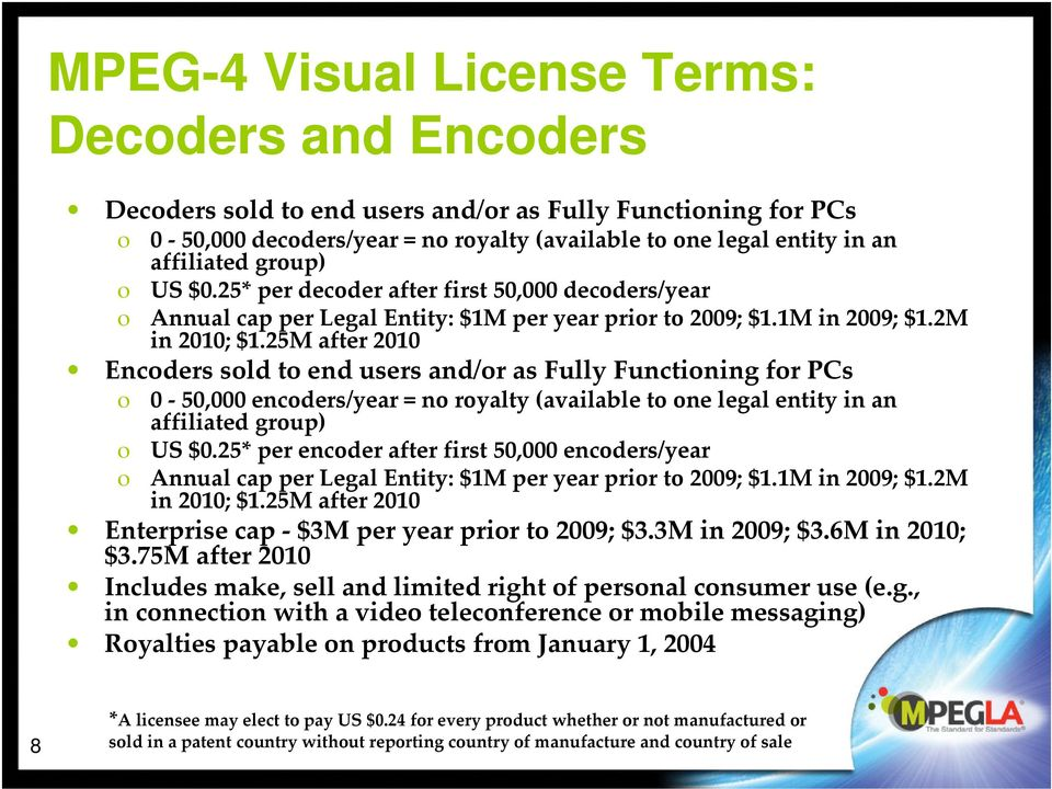 25M after 2010 Encoders sold to end users and/or as Fully Functioning for PCs o 0 50,000 encoders/year = no royalty (available to one legal entity in an affiliated group) o US $0.