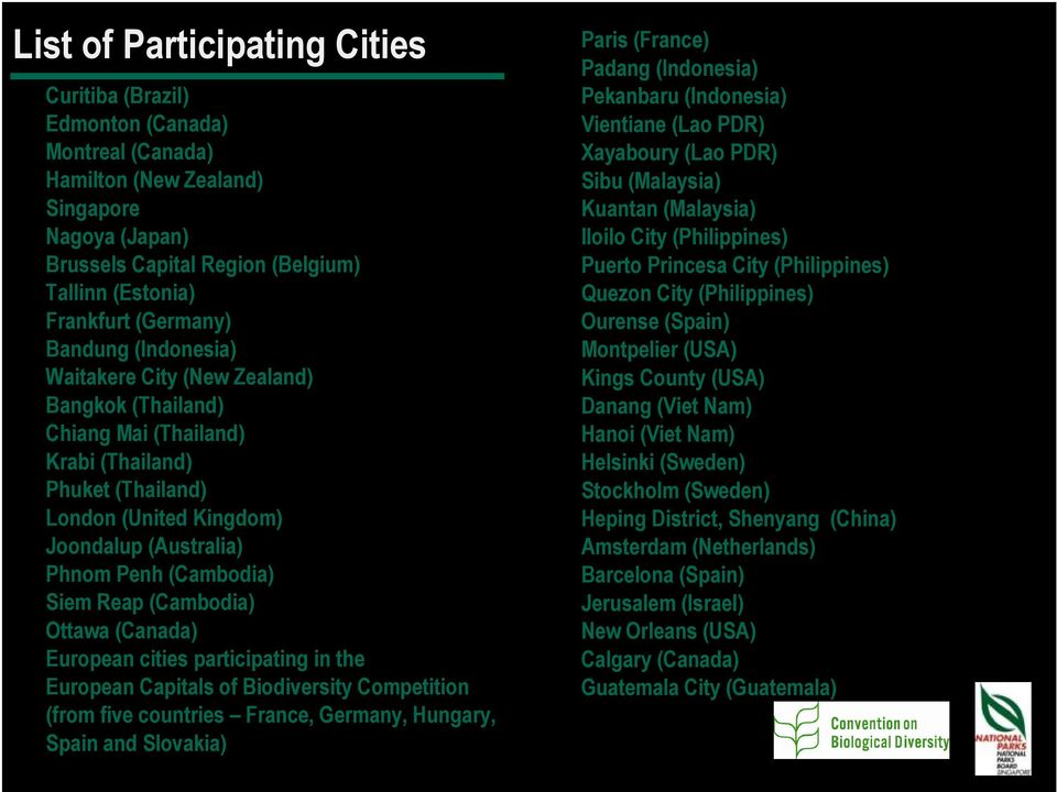 (Cambodia) Siem Reap (Cambodia) Ottawa (Canada) European cities participating in the European Capitals of Biodiversity Competition (from five countries France, Germany, Hungary, Spain and Slovakia)