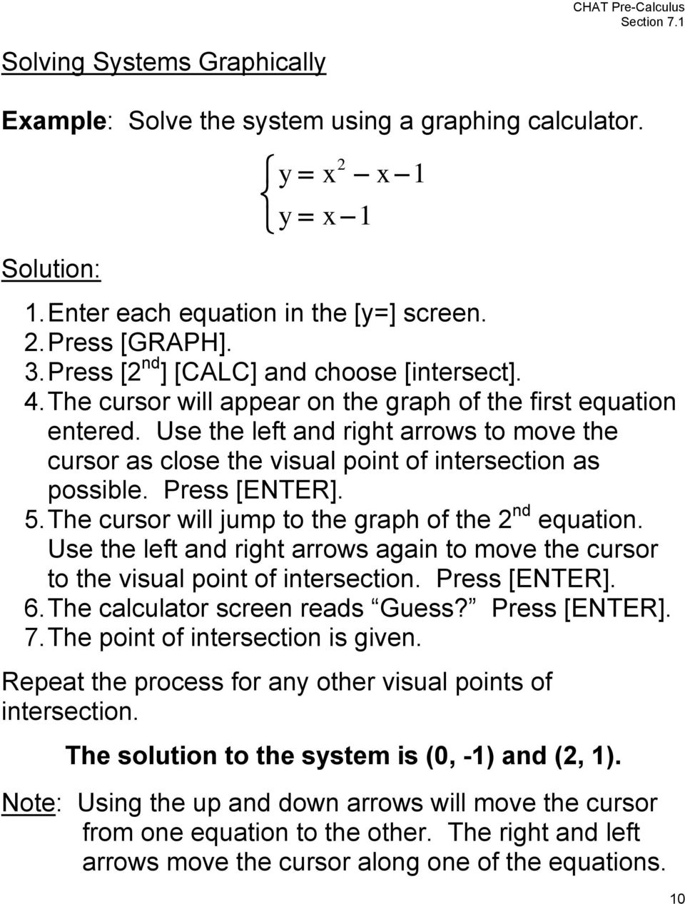 . The cursor will jump to the graph of the nd equation. Use the left and right arrows again to move the cursor to the visual point of intersection. Press [ENTER]. 6. The calculator screen reads Guess?