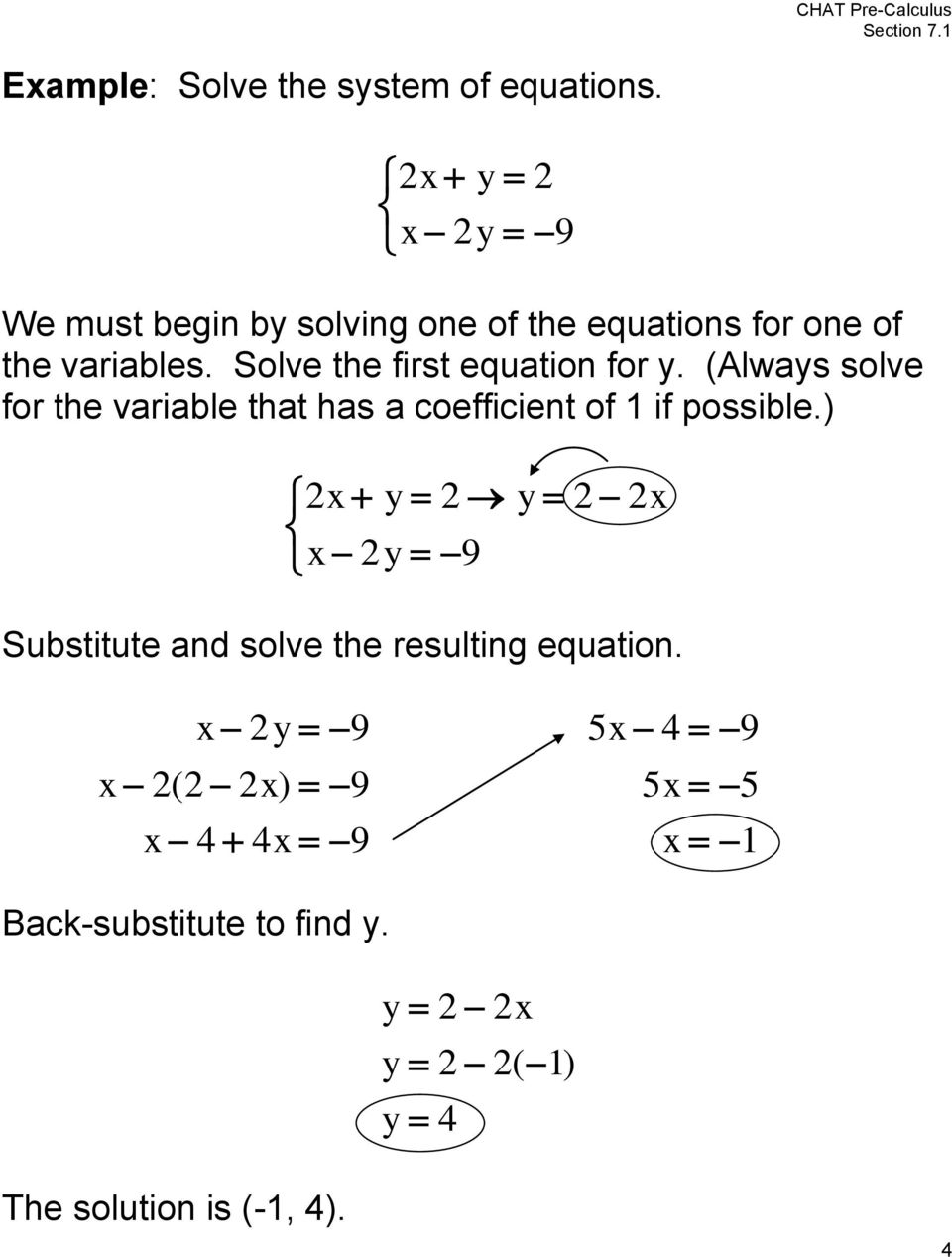 Solve the first equation for.