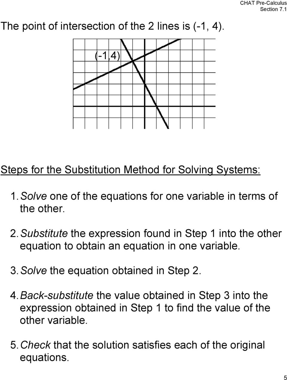 . Substitute the epression found in Step into the other equation to obtain an equation in one variable.
