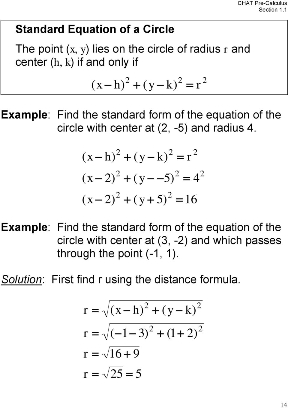 ( h) ( k) ( ) ( 5) 4 ( ) ( 5) 1 Eample: Find the standad fom of the equation of the cicle with cente at (, -)
