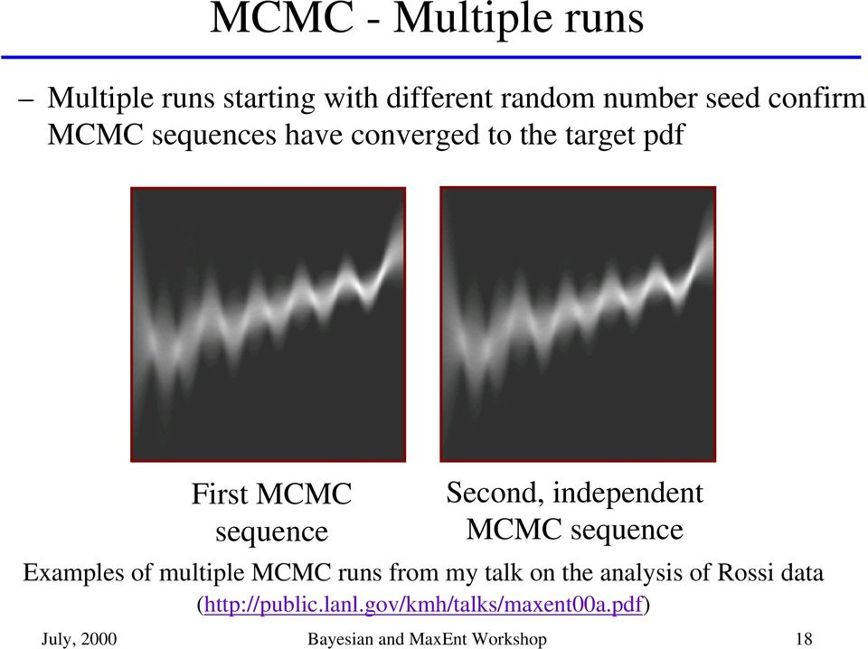 MCMC sequence Examples of multiple MCMC runs from my talk on the analysis of Rossi data