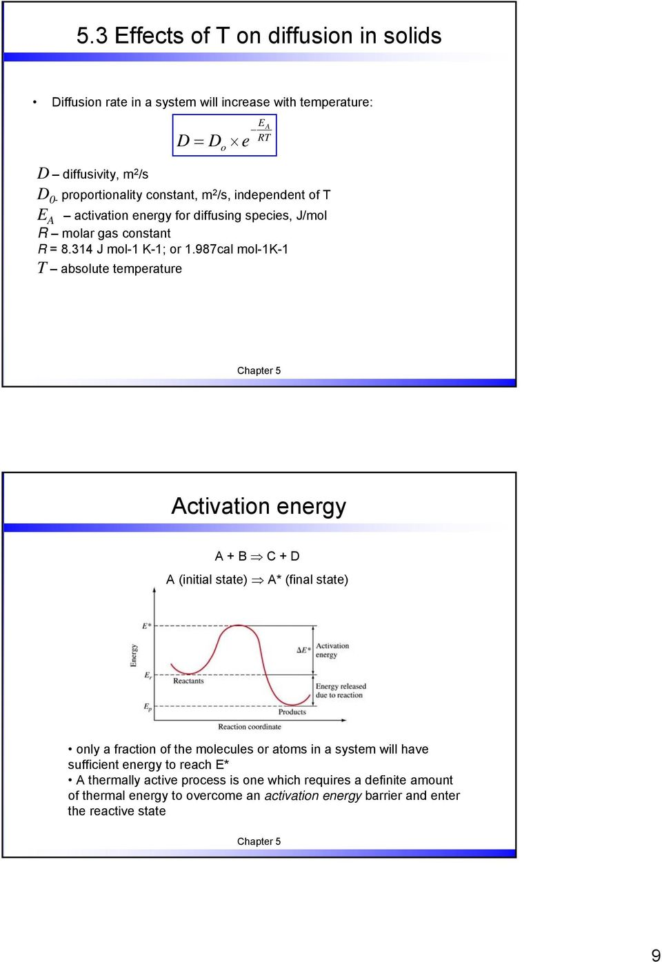 987cal mol-1k-1 T absolute temperature Activation energy A + B C + D A (initial state) A* (final state) only a fraction of the molecules or atoms in a system