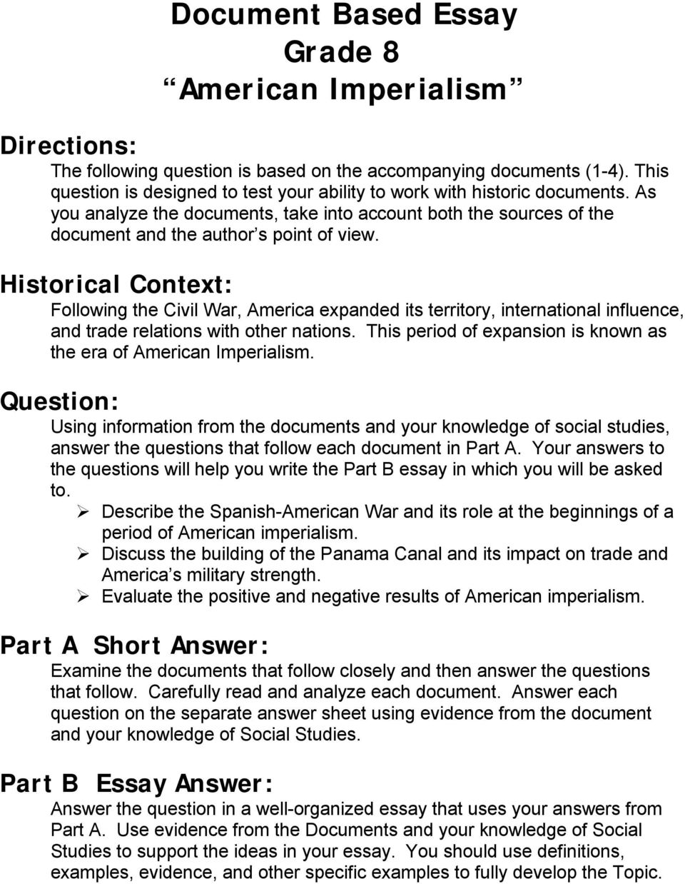 document based essay grade american imperialism pdf historical context following the civil war america expanded its territory international influence
