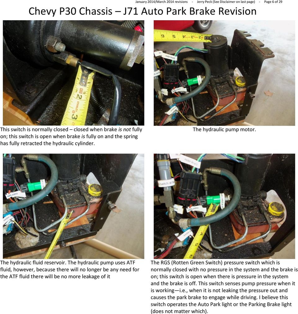 Chevy P30 Chassis J71 Auto Park Brake Revision Pdf Wiring A Pressure Switch The Hydraulic Pump Uses Atf Fluid However Because There Will No Longer Be Any
