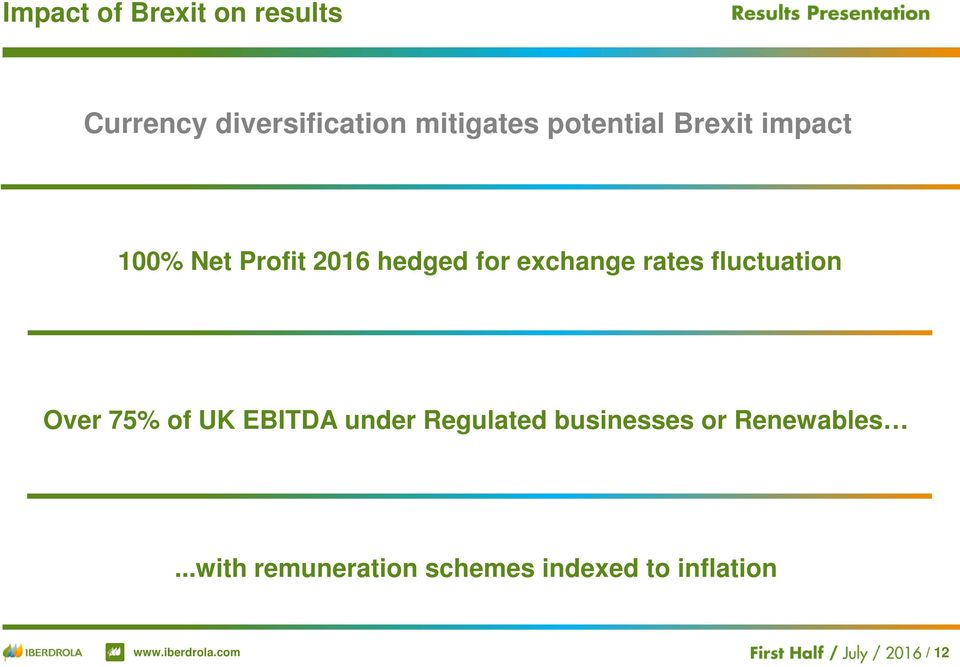 rates fluctuation Over 75% of UK EBITDA under Regulated